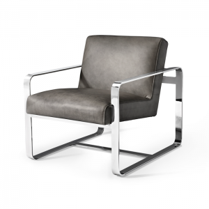 Miles leather chair in polished stainless steel